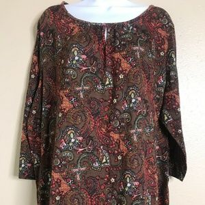 Kim Rogers Women Size 2X Brown Paisley 3/4 Sleeve